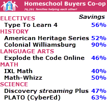BIG Savings at the Homeschool Buyers Co-op